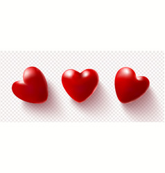set red 3d hearts isolated on a transparent vector image