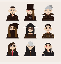 set with avatars of gothic man in hats vector image