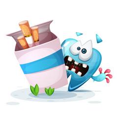Smoking hurts your teeth cartoon vector