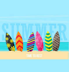 surfboards on the beach flat design style vector image