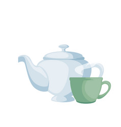 teapot elegant with cup vector image