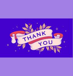 Thank you retro greeting card vector