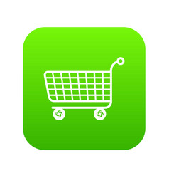 trolley icon green vector image