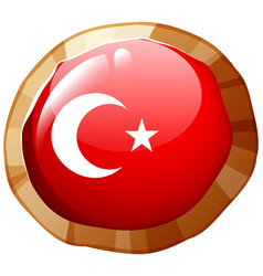 Turkey flag design on round badge vector