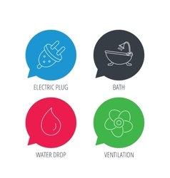 Ventilation water drop and electric plug icons vector