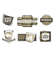 whiskey and scotch isolated icons alcohol drink vector image