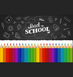 Whiteboard with colored pencils and back to school vector