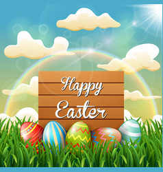 wooden sign and easter egg decorated with rainbow vector image