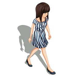 A topview of a young lady walking vector image vector image