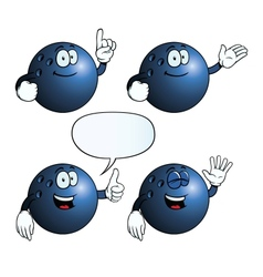 Smiling bowling ball set vector image vector image