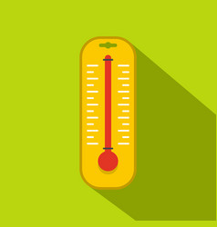 yellow thermometer icon flat style vector image