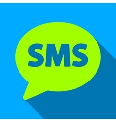 SMS Bubble Flat Long Shadow Square Icon vector image