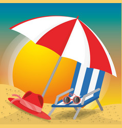 summer umbrella sun glasses chair and hat over vector image
