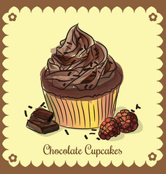 vintage card chocolate cupcakes vector image vector image