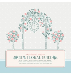 Vintage card with arch and roses vector image vector image