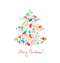 Christmas tree made of elements vector image vector image