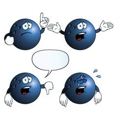 Crying bowling ball set vector image vector image