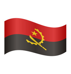 flag of angola waving on white background vector image vector image