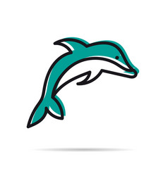 line icon - jumping dolphin vector image vector image