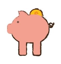 piggy money coin dollar bank sketch vector image vector image