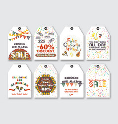 price sale tags set for the mexican holiday cinco vector image vector image