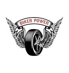 biker power emblem with winged wheel design vector image