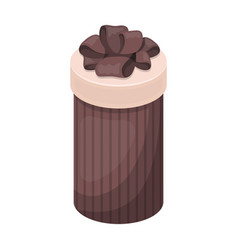 brown box in the form of a cylinder gift wrapping vector image vector image