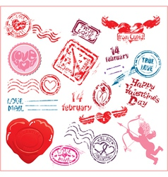 Collection of love mail design elements - postmark vector image