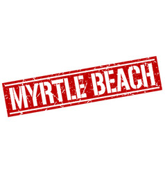 Myrtle beach red square stamp vector