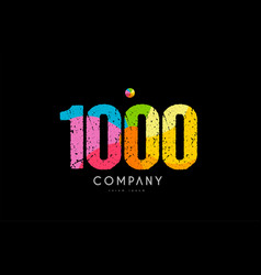 1000 number grunge color rainbow numeral digit vector image