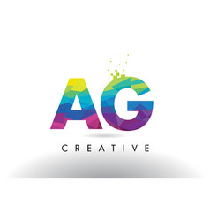 Ag a g colorful letter origami triangles design vector