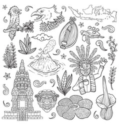 Amazing culture flora and fauna indonesia outline vector