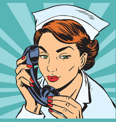 Avatar portrait of a nurse with the phone vector