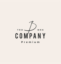 B letter mark signature hipster vintage logo icon vector