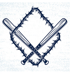 Baseball bats crossed criminal gang logo or sign vector