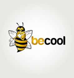 Bee character logo design symbol vector