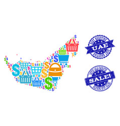Best shopping composition of mosaic map of united vector