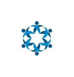 blue people team round logo icon vector image