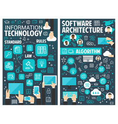 Brochure for information technology vector
