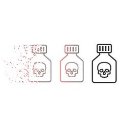broken pixel halftone poison phial icon vector image