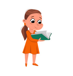brunette girl reading book while standing vector image