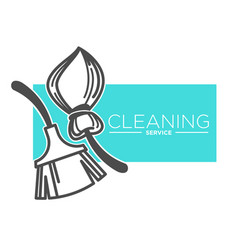 Brush and broomstick cleaning service company vector