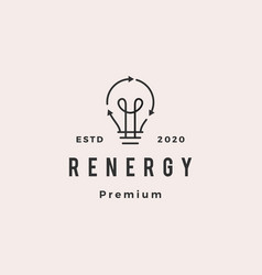 bulb lamp energy recycle logo hipster retro vector image
