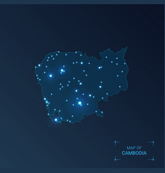 Cambodia map with cities luminous dots - neon vector