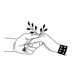 Caring touch of palms cartoon two hands vector