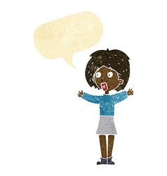 Cartoon worried woman with speech bubble vector