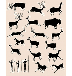 cave rock painting animals silhouettes set vector image