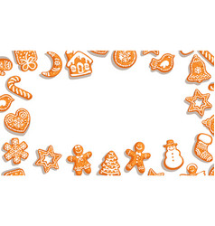 Christmas background cute gingerbread cookies on vector
