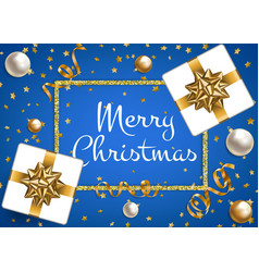 christmas card on blue vector image