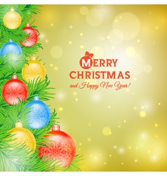 Christmas tree with balls of Christmas card vector image
